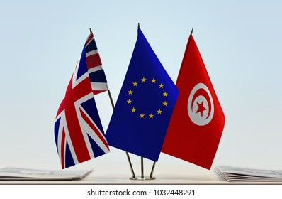 Flags of Great Britain European Union and Tunisia