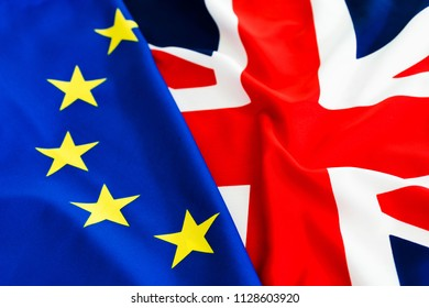 Flags of Great Britain and European Union together.