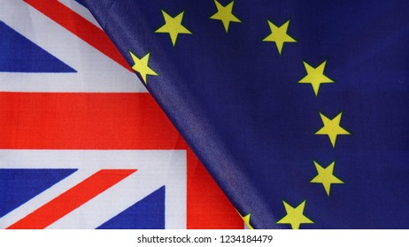 Flags of Great Britain and European Union together