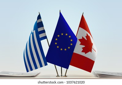 Flags of Greece European Union and Canada