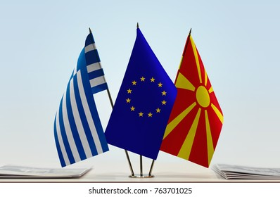 Flags of Greece European Union and Macedonia