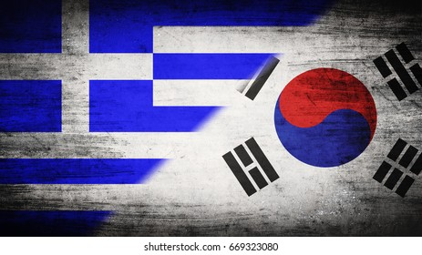 Flags of Greece and South Korea divided diagonally