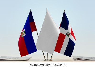 Flags of Haiti and Dominican Republic with a white flag in the middle