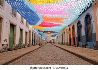 Flags hanging in the streets of sao luis do maranhao for the festival of sao joao, bumba meu boi