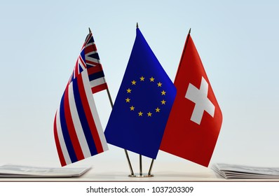 Flags of Hawaii European Union and Switzerland