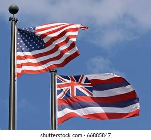 Flags of Hawaii and USA