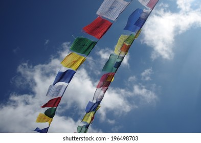 Flags in Himalaya mountains