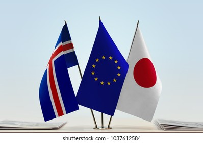 Flags of Iceland European Union and Japan
