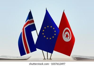 Flags of Iceland European Union and Tunisia