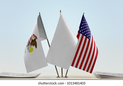 Flags of Illinois and USA with a white flag in the middle