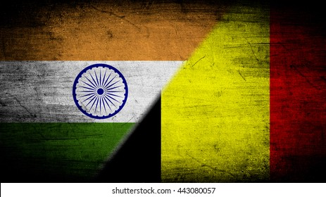 Flags of India and Belgium divided diagonally