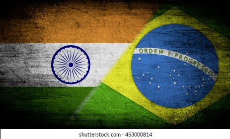 Flags of India and Brazil divided diagonally