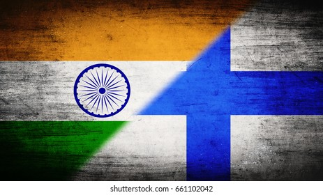 Flags of India and Finland divided diagonally