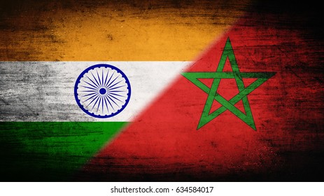 Flags of India and Morocco divided diagonally