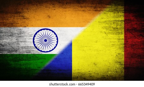 Flags of India and Romania divided diagonally
