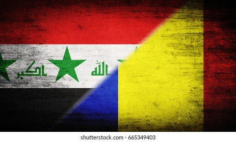Flags of Iraq and Romania divided diagonally