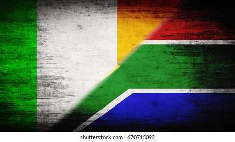 Flags of Ireland and Republic of South Africa divided diagonally