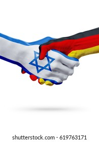 Flags Israel, Germany countries, handshake cooperation, partnership, friendship or sports team competition concept, isolated on white