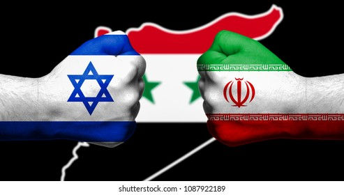 Flags of Israel and Iran painted on two clenched fists facing each other with map of Syria in the background/Israel - Iran conflict concept