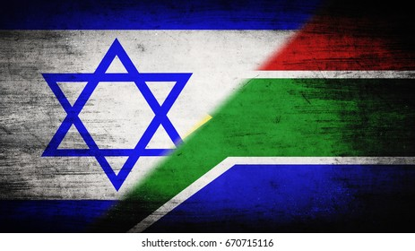 Flags of Israel and Republic of South Africa divided diagonally