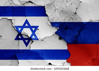 flags of Israel and Russia
