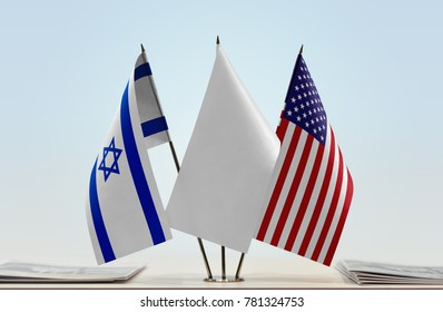 Flags of Israel and USA with a white flag in the middle