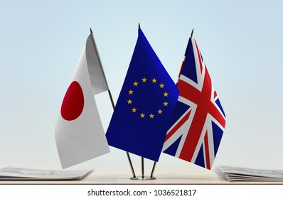 Flags of Japan European Union and Great Britain