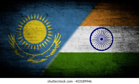 Flags of Kazakhstan and India divided diagonally