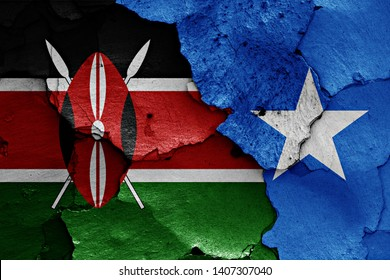 flags of Kenya and Somalia painted on cracked wall