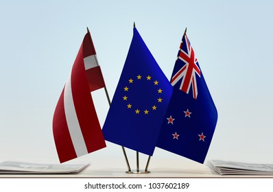 Flags of Latvia European Union and New Zealand