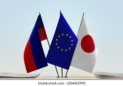 Flags of Liechtenstein European Union and Japan