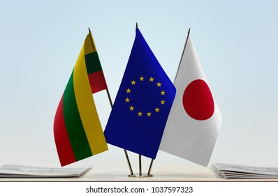 Flags of Lithuania European Union and Japan