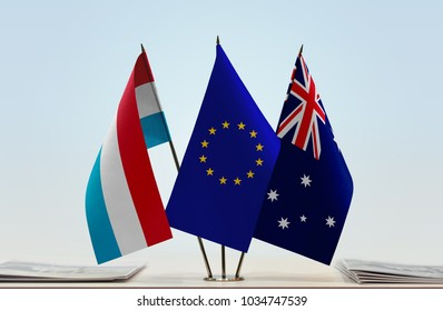 Flags of Luxembourg European Union and Australia