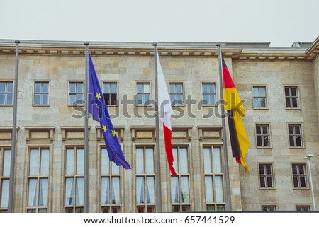 Flags in the main entrance of the Ministry of Finance of Germany.