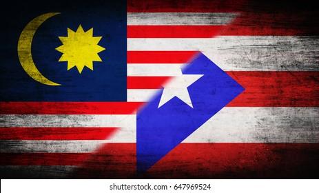 Flags of Malaysia and Puerto Rico divided diagonally
