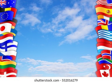 Flags of many different countries against cloudy blue sky