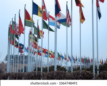 The flags of many nations hang from the flagpoles.