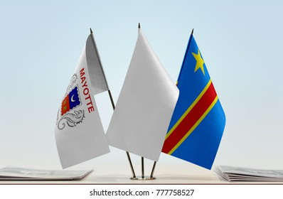 Flags of Mayotte and Democratic Republic of the Congo (DRC, DROC, Congo-Kinshasa) with a white flag in the middle