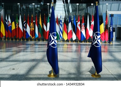 Flags' of Members of NATO at the NATO headquarters in Brussels, Belgium, June 26, 2019.