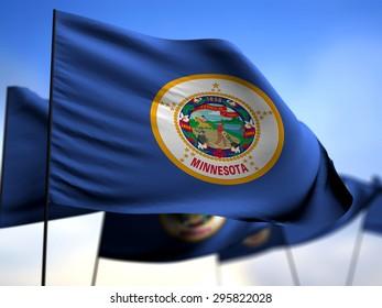 flags of Minnesota on blue sky background