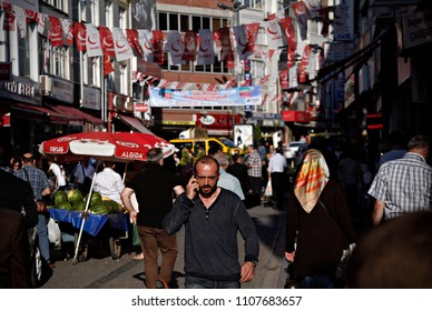 Flags of a Nationalist Movement Party (MHP) in the street of Istanbul, Turkey on june 4, 2015.