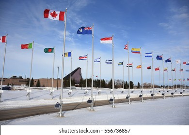 flags of nations at the Mint, Winnipeg, Manitoba