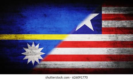 Flags of Nauru and Liberia divided diagonally