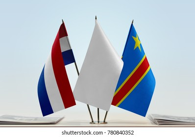 Flags of Netherlands and Democratic Republic of the Congo (DRC, DROC, Congo-Kinshasa) with a white flag in the middle