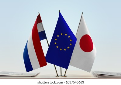 Flags of Netherlands European Union and Japan