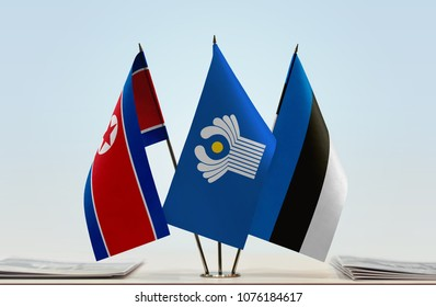 Flags of North Korea CIS and Estonia. Cloth of flags is 3d rendering, the rest is a photo.
