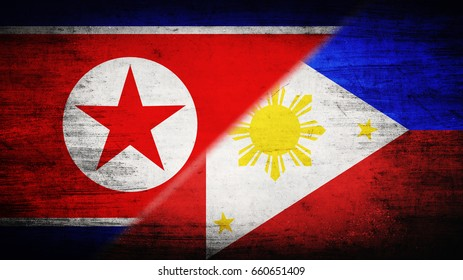 Flags of North Korea and Philippines divided diagonally