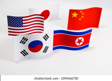 Flags of North and South Korea which it have the good relation between both countries after Kim Jong-un and Moon Jae-in President meeting.