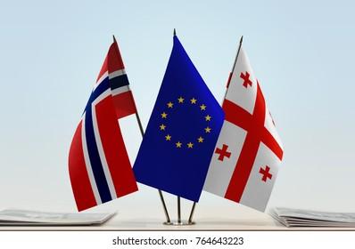 Flags of Norway European Union and Georgia