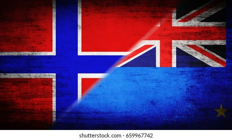 Flags of Norway and Tuvalu divided diagonally